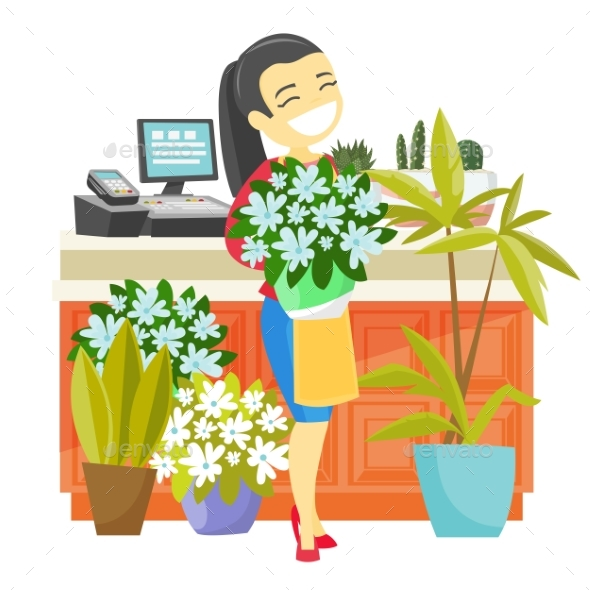 Business Owner Holding a Bouquet in a Flower Shop - People Characters