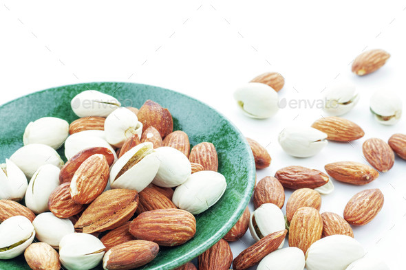 Almond mixed in a plate - Stock Photo - Images
