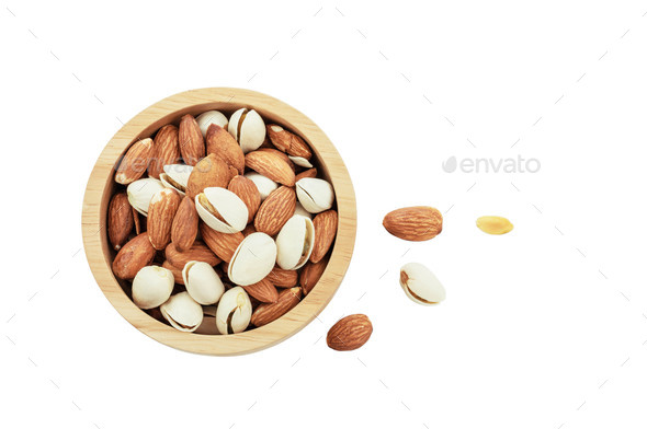 Almond on white background - Stock Photo - Images