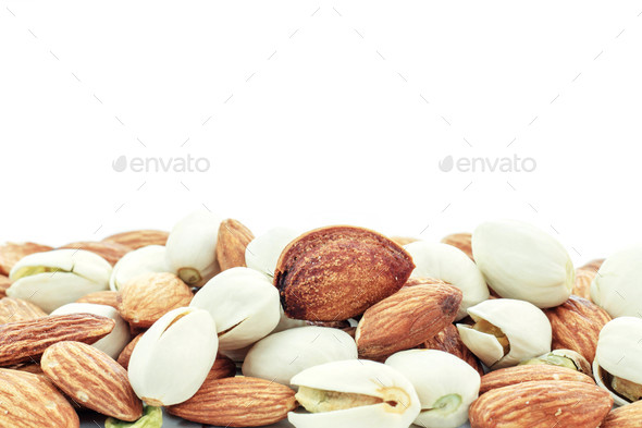 Almond with white background - Stock Photo - Images