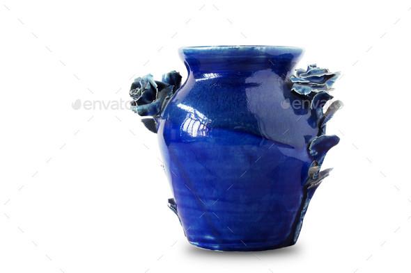 blue vase on white background - Stock Photo - Images