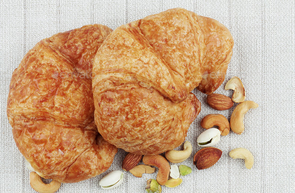 Croissants on tablecloths - Stock Photo - Images
