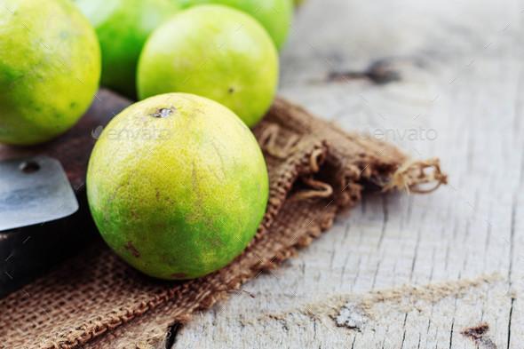 Lemon on sack - Stock Photo - Images