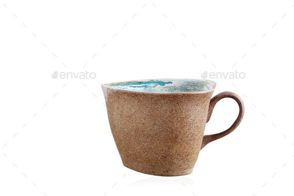 Old mug on white background - Stock Photo - Images