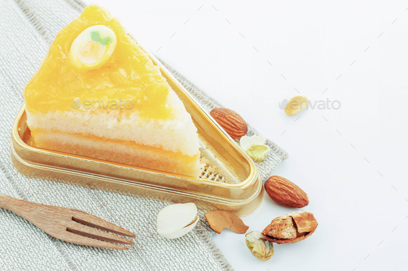 Orange cake on tray - Stock Photo - Images