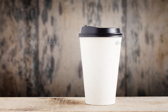 Paper cup on wooden - Stock Photo - Images