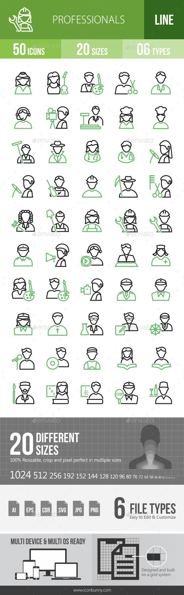 50 Professionals Green & Black Line Icons - Icons