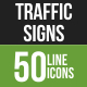 50 Traffic Signs Green & Black Line Icons