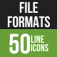 50 File Formats Green & Black Line Icons