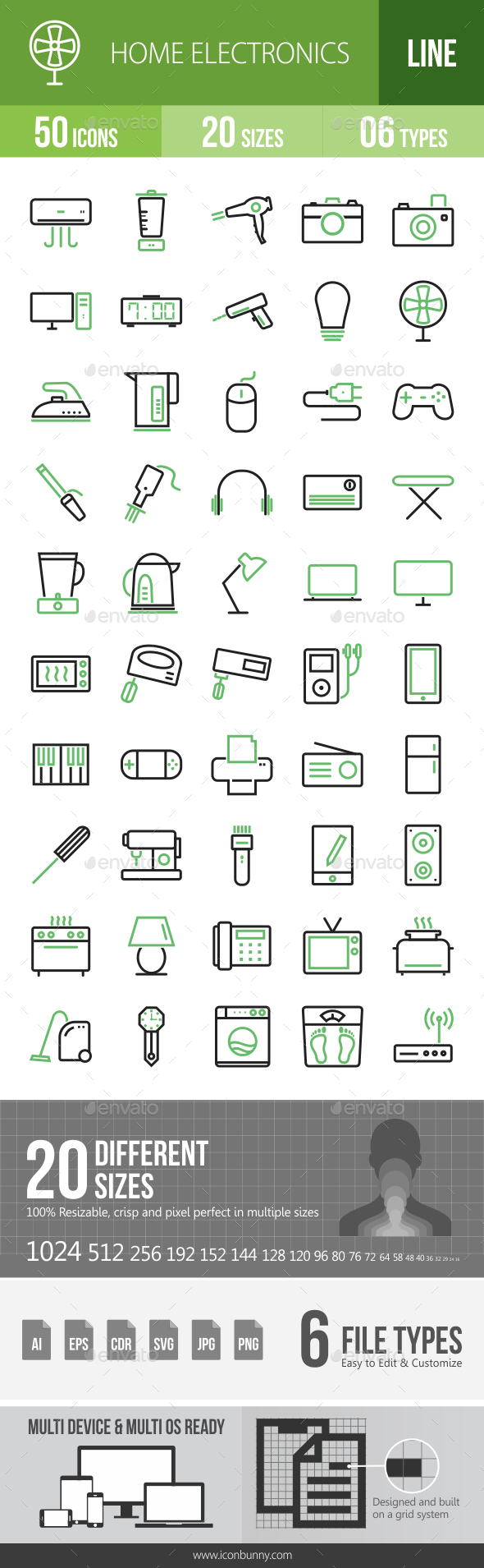 50 Home Electronics Green & Black Line Icons - Icons