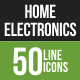 50 Home Electronics Green & Black Line Icons