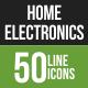 50 Home Electronics Green & Black Line Icons
