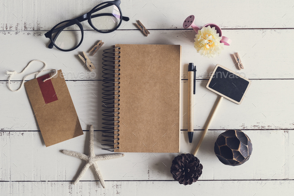 Blank notebook, blackboard, tag with cute decorated - Stock Photo - Images