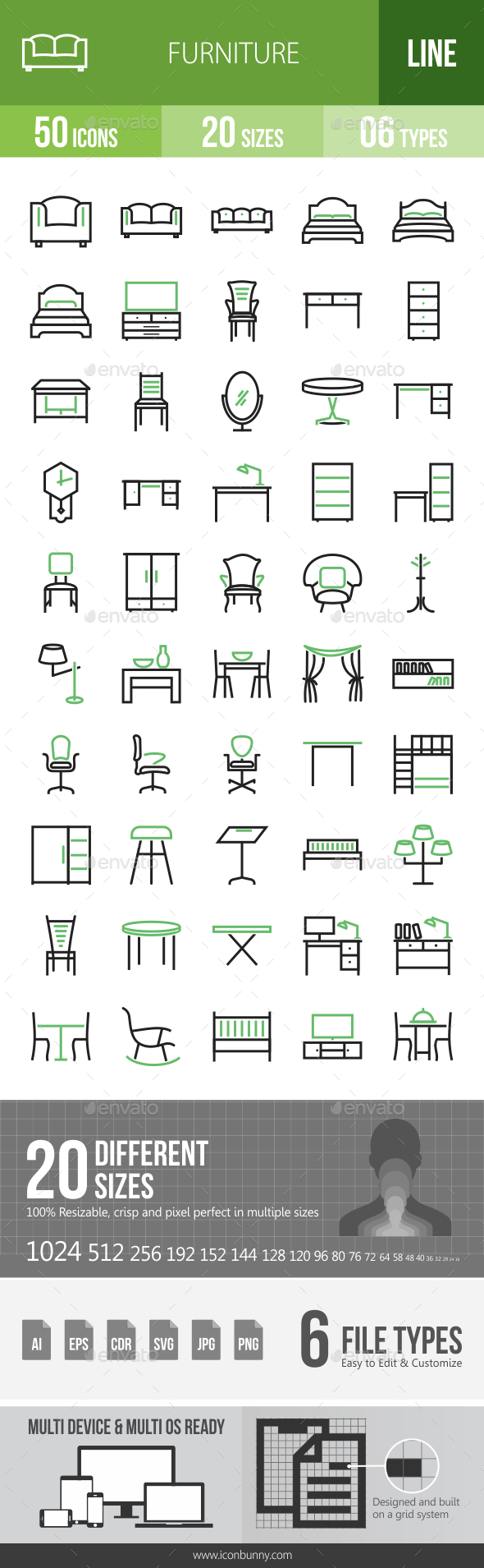 50 Furniture Green & Black Line Icons - Icons