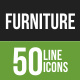 50 Furniture Green & Black Line Icons