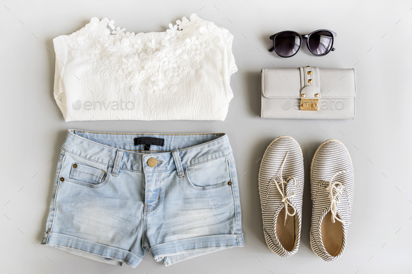 Fashion summer women clothes set - Stock Photo - Images