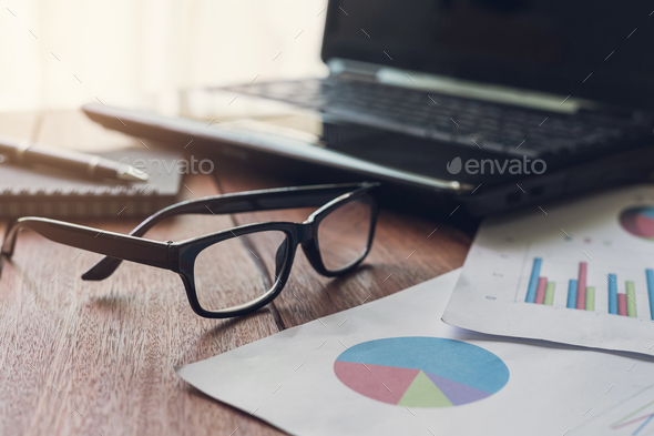 laptop computer and business graph information diagram - Stock Photo - Images