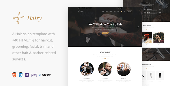 Hairy - Barbershop & Hair Salon HTML Template