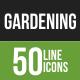 50 Gardening Green & Black Line Icons