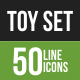 50 Toy Set Green & Black Line Icons