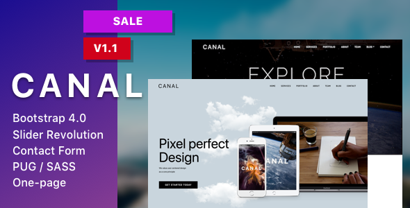 Image of Canal - Single page HTML Template