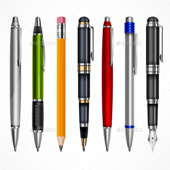 Set of Pens and Pencils - Man-made Objects Objects