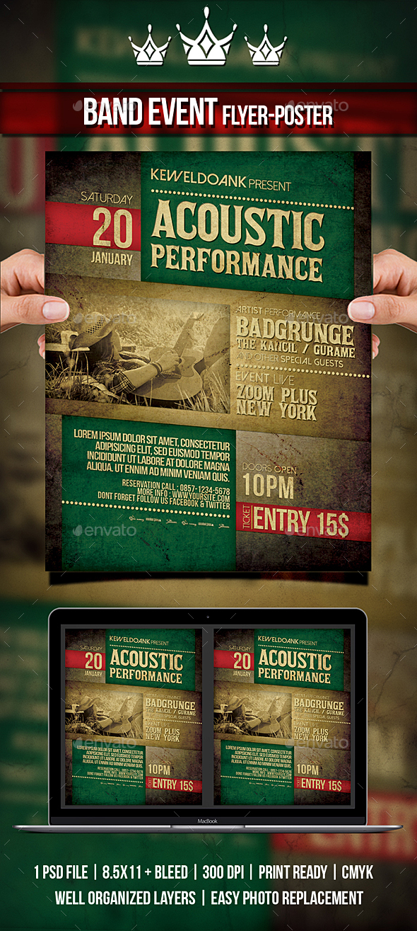Acoustic Performance Flyer / Poster - Concerts Events
