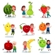 Kids Having Fun and Hugging Fruit