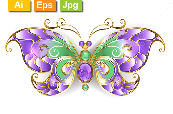 Gold Butterfly with Amethyst - Man-made Objects Objects