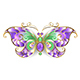 Gold Butterfly with Amethyst