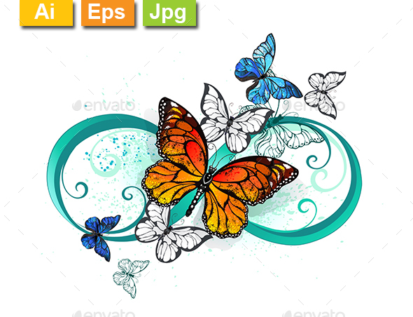 Infinity with Orange Butterfly - Tattoos Vectors