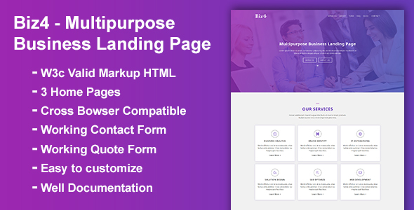 Biz4 - Multipurpose Business Landing Page - Corporate Landing Pages