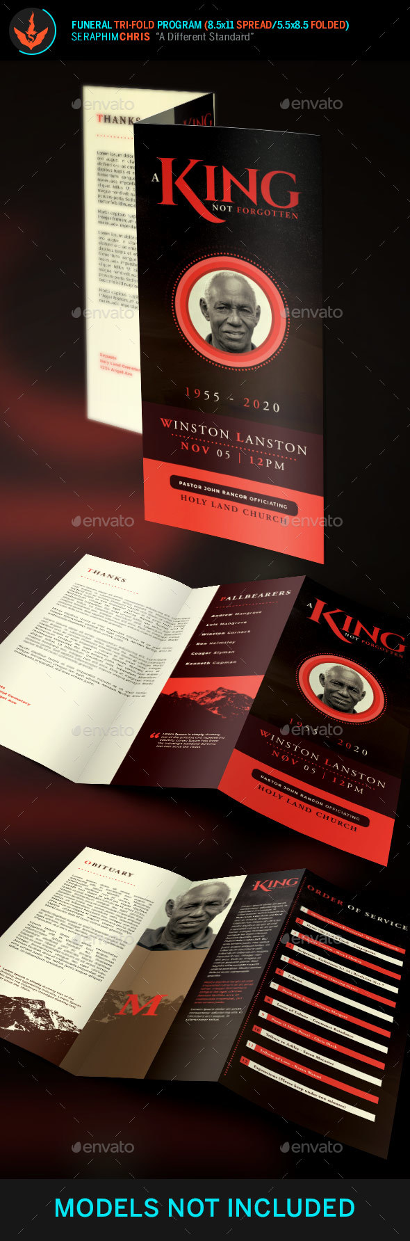 King Funeral Program Tri-Fold Brochure Template - Informational Brochures