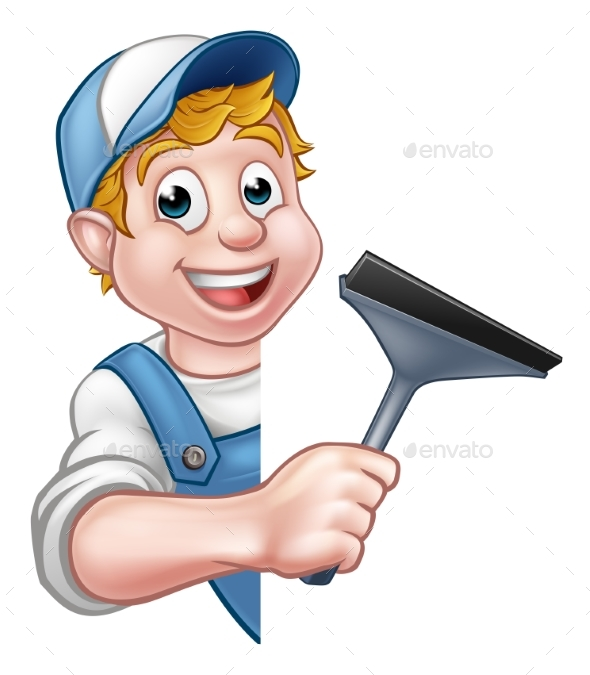 Cartoon Character Window Cleaner - People Characters