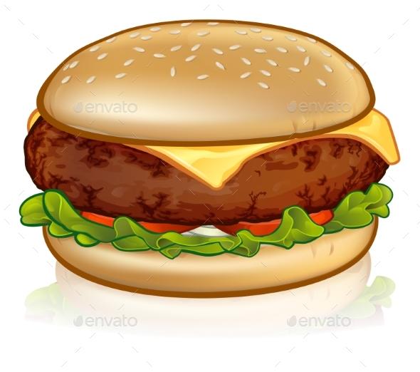 Cartoon Cheese Burger - Food Objects