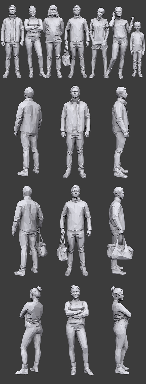 Lowpoly People Casual Pack Vol.15 - 3DOcean Item for Sale