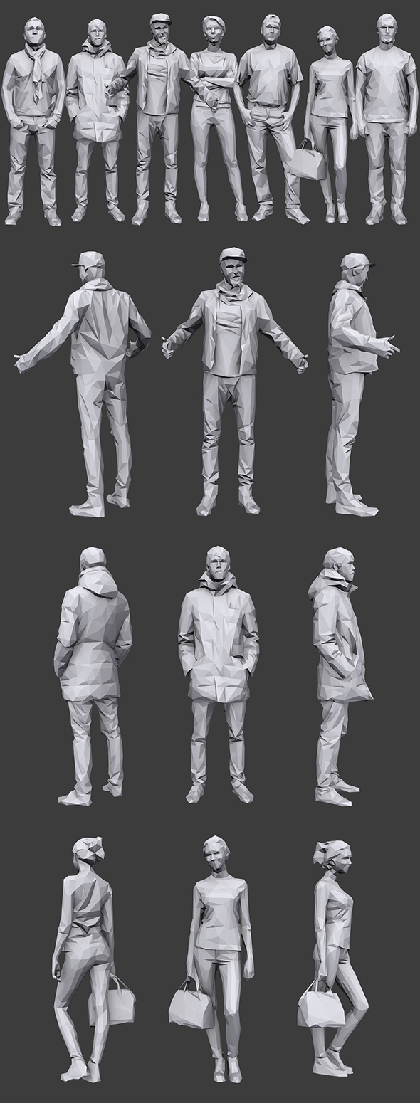 Lowpoly People Casual Pack Vol.16 - 3DOcean Item for Sale