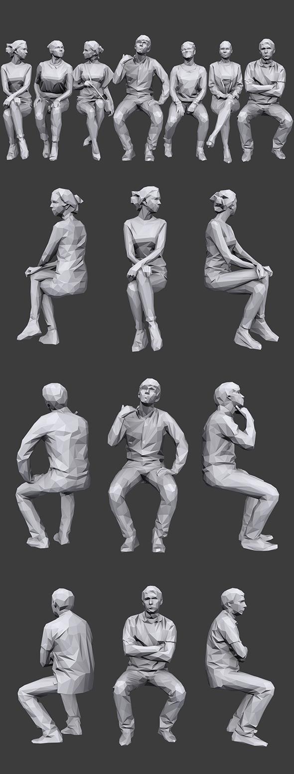 Lowpoly Sitting People Pack Vol. 5 - 3DOcean Item for Sale