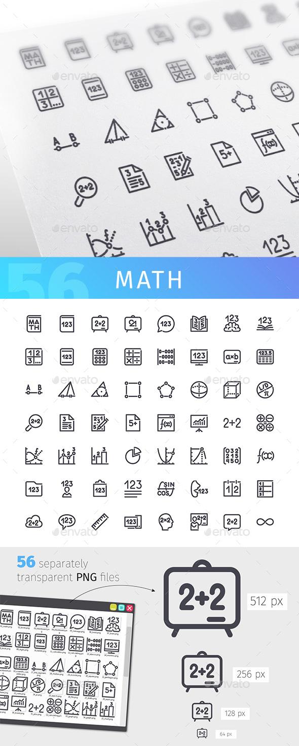 Math Line Icons Set - Miscellaneous Icons