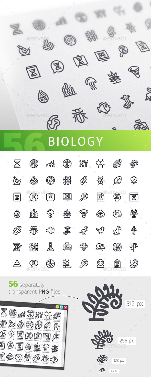 Biology Line Icons Set - Technology Icons