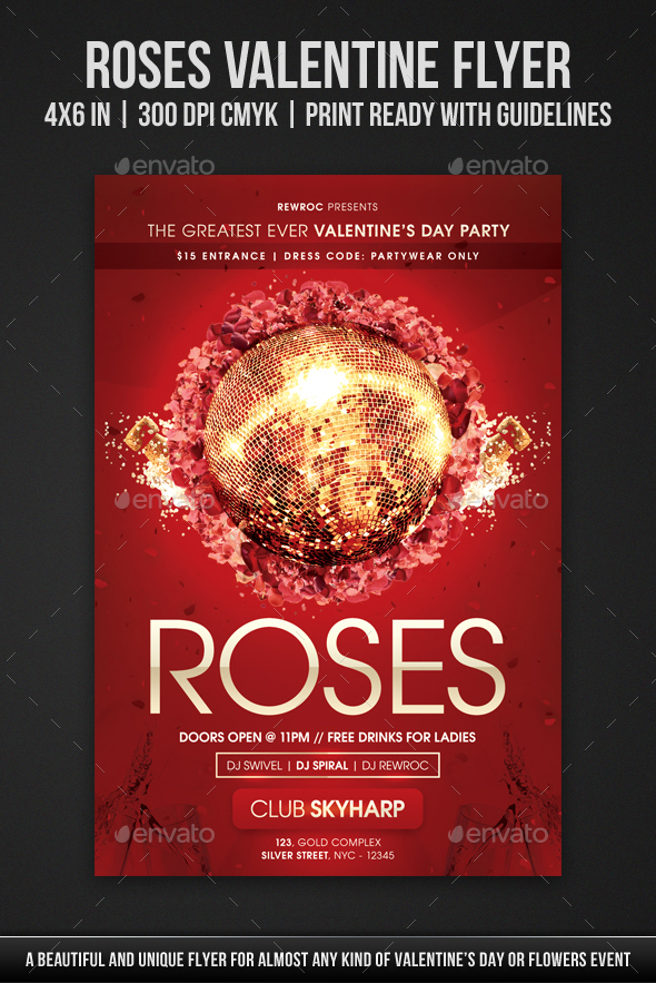 Roses Valentine Flyer - Holidays Events
