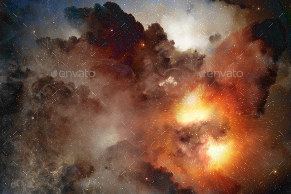 bright light shining in a cosmic nebula - Stock Photo - Images