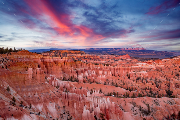 sunset on Bryce Canyon National Park in Utah - Stock Photo - Images