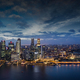 modern buildings illuminated in Singapore downtown  at dusk - PhotoDune Item for Sale