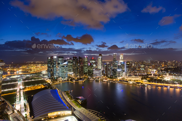 lights of the singapore downtown at evening - Stock Photo - Images