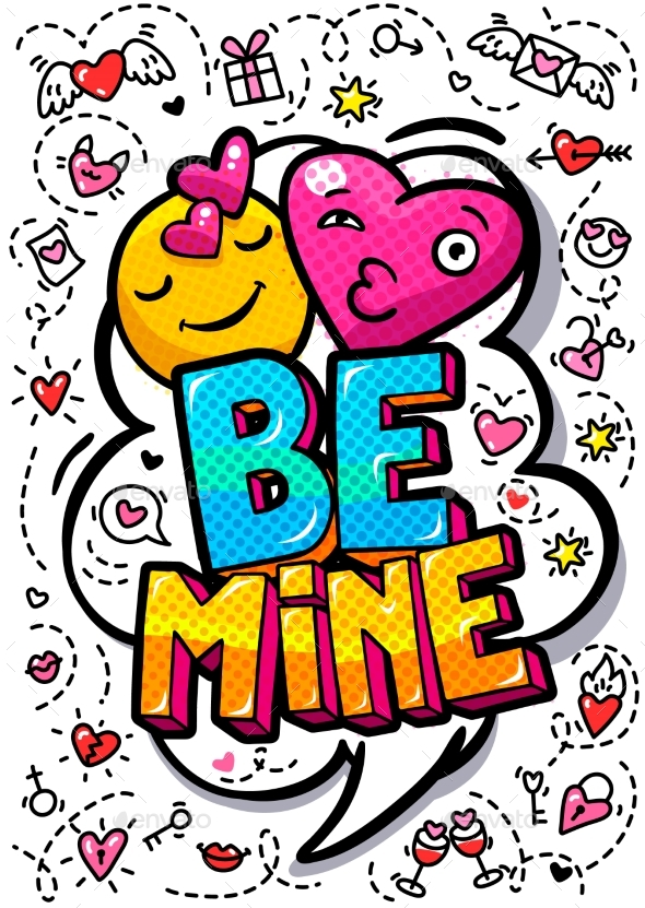 Be Mine Word Bubble - Miscellaneous Vectors