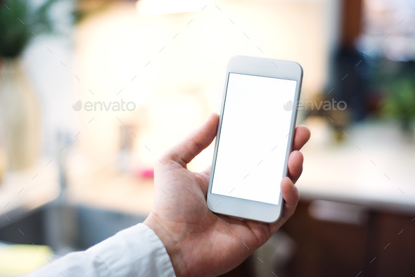 Mockup image of smartphone with blank white screen. - Stock Photo - Images