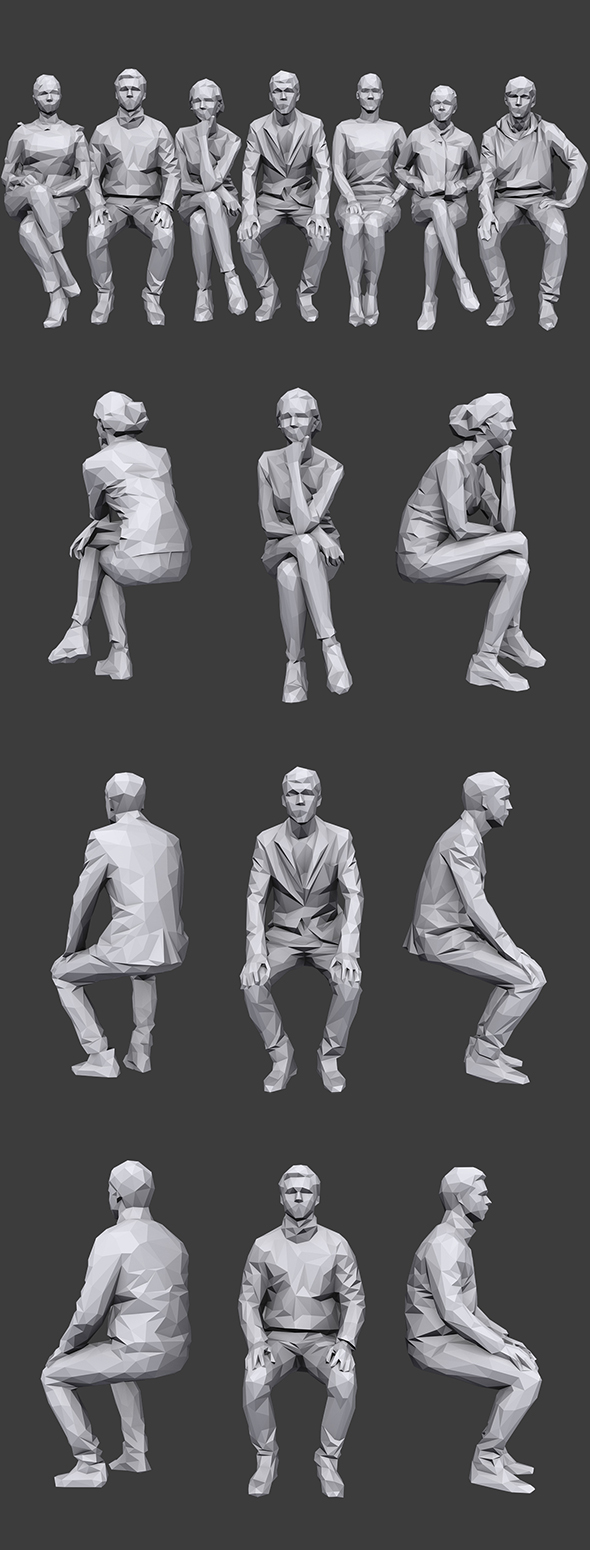 Lowpoly Sitting People Pack Vol. 6 - 3DOcean Item for Sale