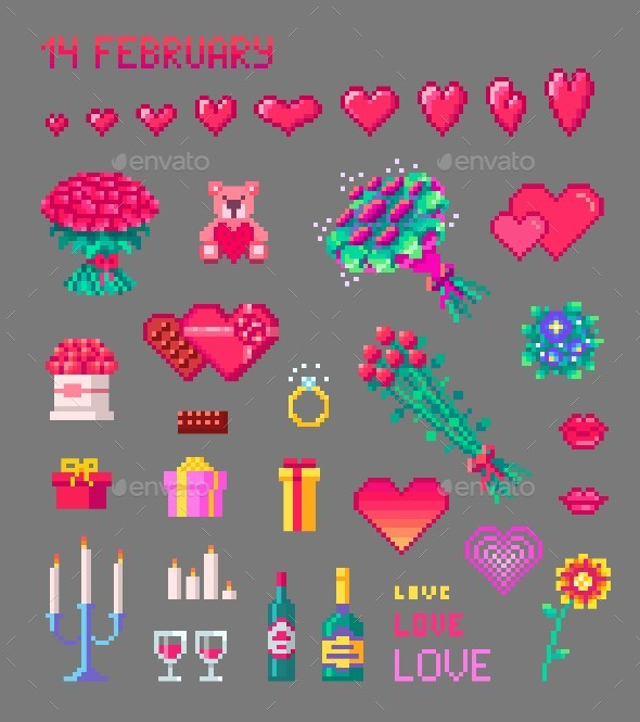 Set of Cute Valentines Pixel Art Icons - Miscellaneous Characters