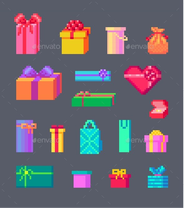 Set of Pixel Art gift boxes - Man-made objects Objects
